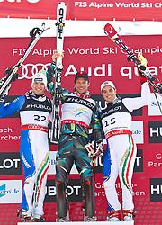 14.02.2011, Kandahar, Garmisch Partenkirchen, GER, FIS Alpin Ski WM 2011, GAP, Herren, Super Combination, im Bild Podium v.l. zweiter, silber Medaille Christof Innerhofer (ITA), Goldmedaillen Gewinner und Weltmeister Aksel Lund Svindal (NOR) und dritter, bronze Medaille Peter Fill (ITA) // second, silver medal Christof Innerhofer (ITA), Gold Medal and World Champion Aksel Lund Svindal (NOR) and third, bronze Medal Peter Fill (ITA) during Supercombi Men Fis Alpine Ski World Championships in Garmisch Partenkirchen, Germany on 14/2/2011. EXPA Pictures © 2011, PhotoCredit: EXPA/ J. Groder