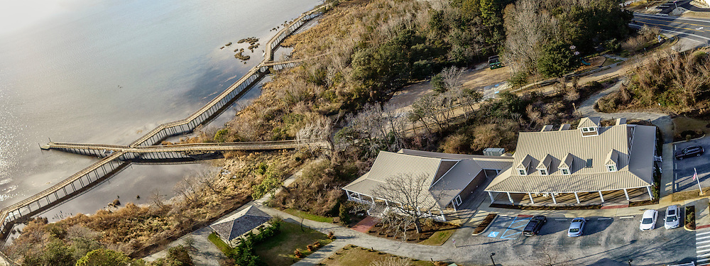 Panoramic aerial view of a lonely house on the beach at Kitty Hawk, NC.