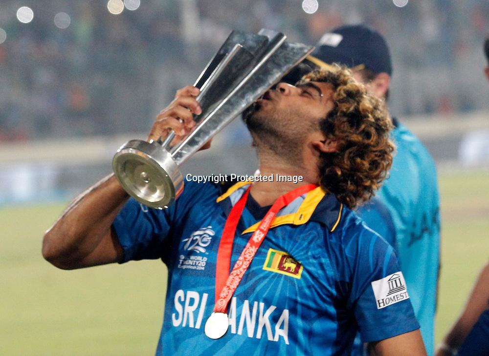 Lasith Malinga with the trophy, ICC T20 cricket World Cup Final - Sri Lanka v India, Sher-e-Bangla National Cricket Stadium, Mirpur, Bangladesh, 6 April 2014. Photo: www.photosport.co.nz