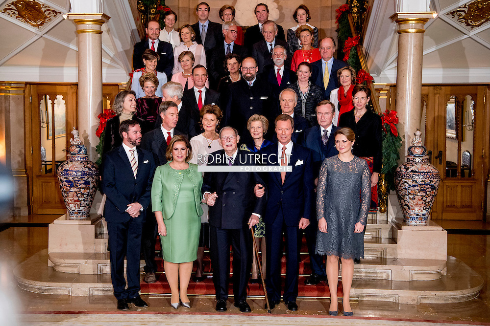 8-12-2016 Luxembourg - Jean, Grand Duke of Luxembourg , Henri, Grand Duke of Luxembourg , Maria Teresa, Grand Duchess of Luxembourg , Prince F&eacute;lix of Luxembourg and Princess Claire in the royals palace . The Luxembourg royal decree Thursday with a sound and light show of the year-long celebration of the 125th anniversary of the Luxembourg dynasty Nassau. On the facade of the Grand Ducal Palace photos and images projected that tell the history of the Luxembourg monarchy. COPYRIGHT ROBIN UTRECHT<br /> Grand Duke Henri, Grand Duchess Maria Teresa, Grand Duke Jean, Hereditary Grand Duke Guillaume and Hereditary Grand Duchess St&eacute;phanie as well as members of the Grand Ducal Family were announced to mark the 125th anniversary of the Luxembourg-Nassau Dynasty with a family photo and a light show today - and well, a right grand ducal celebration with loads and loads of family members First row, from left: <br /> Hereditary Grand Duke Guillaume, Grand Duchess Maria Teresa, Grand Duke Jean, Grand Duke Henri, Hereditary Grand Duchess St&eacute;phanie<br /> Second row: <br /> Prince Guillaume, Princess Margaretha, Archduchess Marie-Astrid, Prince Jean<br /> Third row: <br /> Princess Sibilla, Prince Nikolaus of Liechtenstein, Archduke Carl-Christian, Countess Diane de Nassau<br /> Fourth row: <br /> Princess Eleonora of Ligne, Prince Michel de Ligne, Prince Robert of Luxembourg, Baroness Sophie de Potesta, Countess Monica of Holstein-Ledreborg<br /> Fifth row: <br /> Countess Silvia of Holstein-Ledreborg, Countess Lydia of Holstein-Ledreborg, Princess Anne of Ligne, Baron Jean-Louis de Potesta, Henrik de Jonqui&egrave;res.<br /> Sixth row: <br /> John Munro of Foulis, Countess Tatiana of Holstein-Ledreborg, Prince Wauthier of Ligne, Chevalier Charles de Fabribeckers de Cortils de Gr&acirc;ce, Princess Sophie de Ligne.<br /> Seventh row: <br /> Countess Antonia of Holstein-Ledreborg, Mark von Riedemann, Princess R&eacute;gine of Ligne, Prince Lamoral of Ligne, Princ