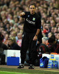 Aston Villa Manager Martin O'Neil during the Barclays Premier League match between Liverpool and Aston Villa at Anfield on August 24, 2009 in Liverpool, England.