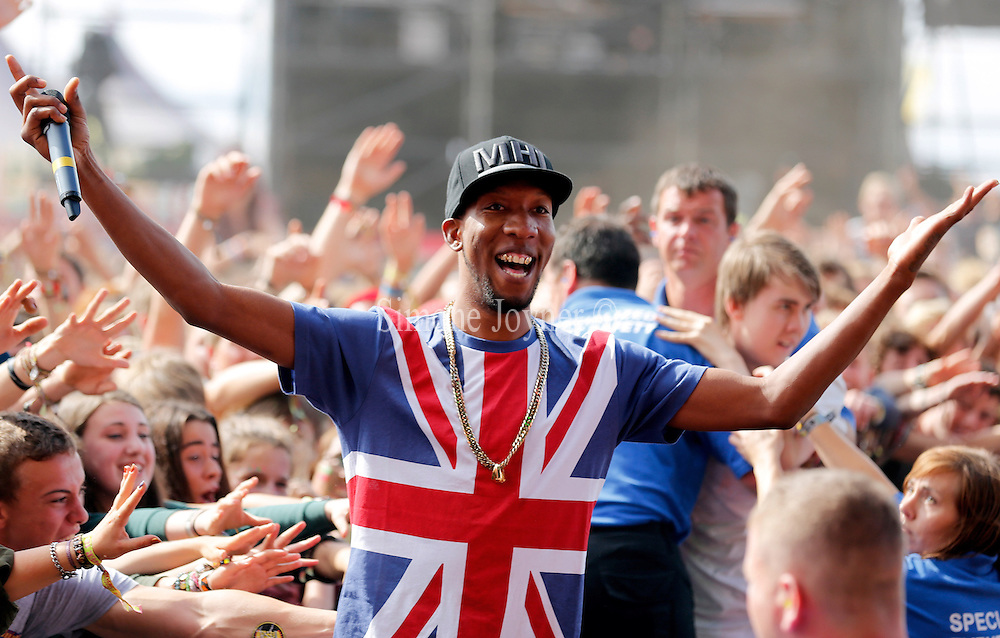 READING, ENGLAND - AUGUST 25: Left Brain of Odd Future Wolf Gang Kill Them All (OFWGKTA) performs live on the Main Stage on Day Two during the Reading Festival 2012 at Richfield Avenue on August 25, 2012 in Reading, England.  (Photo by Simone Joyner/Getty Images)