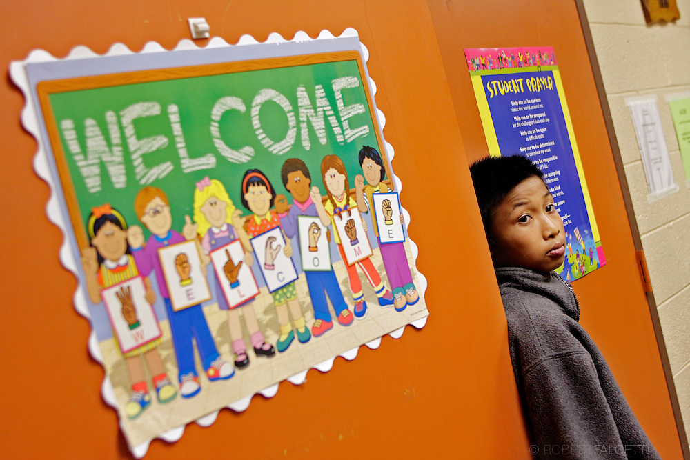 Lay Moo waits to meet a principle during his first visit to West Side Middle School on November 15, 2007. Lay Moo waited nearly three month's before he was able to attend school in the United States due to various difficulties with vaccinations and associated paperwork.   .(Photo by Robert Falcetti)