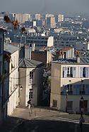 France. Paris 18th. elevated view on paris and Montmartre , rue du chevalier de la barre / Paris vu d'en haut depuis Montmarte