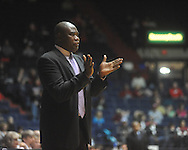 """Alcorn State coach Larry Smith at the C.M. """"Tad"""" Smith Coliseum in Oxford, Miss. on Thursday, December 29, 2010. Ole Miss won 100-62. (AP Photo/Oxford Eagle, Bruce Newman)"""
