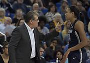 Connecticut Huskies head coach Geno Auriemma (left) talks with forward Napheesa Collier (24) during an NCAA women's basketball game in Los Angeles on Tuesday, Nov. 21, 2017. UConn defeated UCLA 78-60.