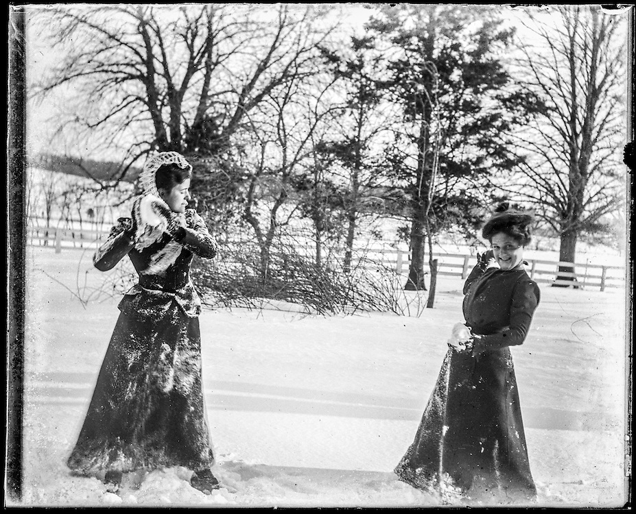 Victorian photograph of women having a snowball fight in Fallston, Maryland.