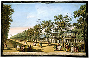 'View of the Grand Walk etc. in Vauxhall Gardens taken from the Entrance'.  Vauxhall Gardens was one of the great pleasure grounds of London and this image of 1751 shows a formal avenue of trees, a bandstand (right), and fashionably dressed men and women. Engraving by English engraver and draughtsman Edward Rooker (c1712-1774) after the painting by Antonio Canaletto (1697-1768) Italian.    Hand-coloured engraving c1760.