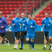 Rosenborg v St Johnstone....17.07.13  UEFA Europa League Qualifier.<br /> Callum Davidson leads the St Johnstone players train in the Lerkendal Stadium<br /> Picture by Graeme Hart.<br /> Copyright Perthshire Picture Agency<br /> Tel: 01738 623350  Mobile: 07990 594431