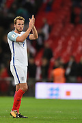 England forward Harry Kane applauds the fans after the FIFA World Cup Qualifier match between England and Slovenia at Wembley Stadium, London, England on 5 October 2017. Photo by Martin Cole.