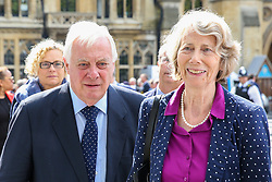© Licensed to London News Pictures. 10/09/2019. London, UK. Chris Patten (L) with his wife Lavender Patten departs from Westminster Abbey in London after attending <br /> a memorial service for Lord Paddy Ashdown. Lord Ashdown became the leader of the newly formed Liberal Democrats created by the merger of the Liberal Party and the Social Democratic Party in 1988, a position he held for 11 years before standing down in 1999. Photo credit: Dinendra Haria/LNP