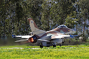 Israeli Air force Fighter jet F16C on the runway at take off