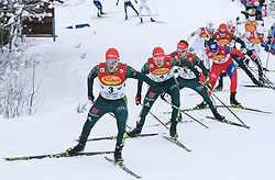 16.12.2017, Nordische Arena, Ramsau, AUT, FIS Weltcup Nordische Kombination, Langlauf, im Bild v. l.: Eric Frenzel (GER), Vinzenz Geiger (GER), Fabian Riessle (GER) und andere Teilnehmer // f. l.: Eric Frenzel of Germany, Vinzenz Geiger of Germany, Fabian Riessle of Germany and other competitors during Cross Country Competition of FIS Nordic Combined World Cup, at the Nordic Arena in Ramsau, Austria on 2017/12/16. EXPA Pictures © 2017, PhotoCredit: EXPA/ Martin Huber