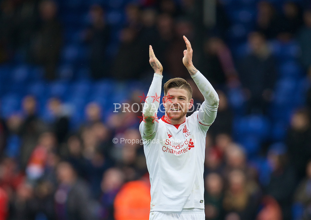 LONDON, ENGLAND - Sunday, March 6, 2016: Liverpool's Alberto Moreno celebrates the 2-1 victory over Crystal Palace during the Premier League match at Selhurst Park. (Pic by David Rawcliffe/Propaganda)