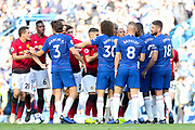 Chelsea and Manchester United players argue Chelsea Defender Marcos Alonso Chelsea Defender David Luiz Manchester United Midfielder Paul Pogba Manchester United Midfielder Ander Herrera during the Premier League match between Chelsea and Manchester United at Stamford Bridge, London, England on 20 October 2018.