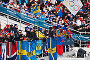 PYEONGCHANG-GUN, SOUTH KOREA - FEBRUARY 16: Fans of Sweden during the mens Cross Country 15k free technique at Alpensia Cross-Country Centre on February 16, 2018 in Pyeongchang-gun, South Korea. Photo by Nils Petter Nilsson/Ombrello               ***BETALBILD***