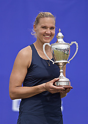 LIVERPOOL, ENGLAND - Sunday, June 23, 2019: Kaia Kanepi (EST) with the Boodles & Dunthorne Trophy after winning the Ladies' Final 6-2, 6-2 on Day Four of the Liverpool International Tennis Tournament 2019 at the Liverpool Cricket Club. (Pic by David Rawcliffe/Propaganda)
