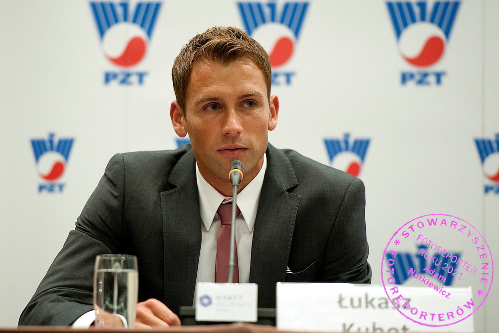 Lukasz Kubot during press conference of Polish Tennis Association at Hyatt Hotel in Warsaw, Poland.<br /> <br /> Poland, Warsaw, July 08, 2013<br /> <br /> Picture also available in RAW (NEF) or TIFF format on special request.<br /> <br /> For editorial use only. Any commercial or promotional use requires permission.<br /> <br /> Photo by &copy; Adam Nurkiewicz / Mediasport