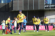 Grant Elliott of the Birmingham Bears leads out his team during the Vitality T20 Blast North Group match between Lancashire Lightning and Birmingham Bears at the Emirates, Old Trafford, Manchester, United Kingdom on 10 August 2018.