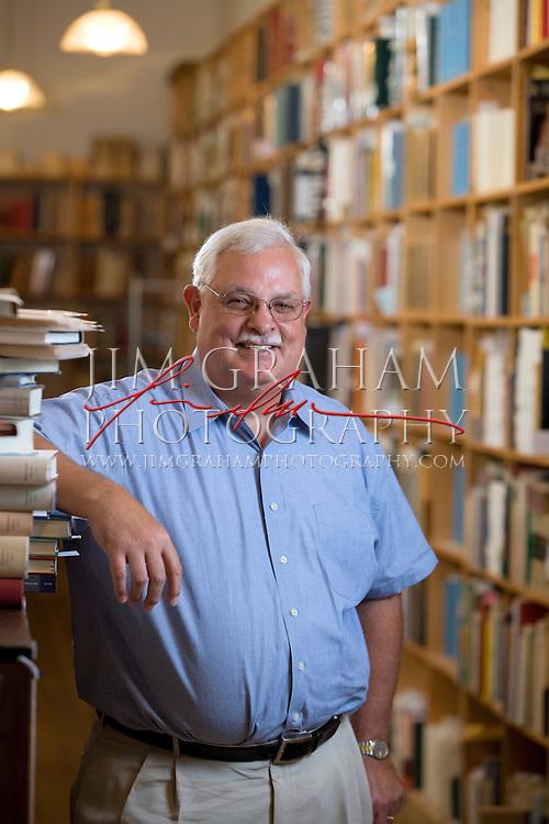 Robert D. Fleck, President, Oak Knoll Books & Press a his office in New Castle, De 30 July 2008.(Photograph by Jim Graham)