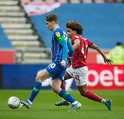 Kieran Dowell of Wigan Athletic (L) and Han-Noah Massengo of Bristol City in action - Mandatory by-line: Jack Phillips/JMP - 11/01/2020 - FOOTBALL - DW Stadium - Wigan, England - Wigan Athletic v Bristol City - English Football League Championship