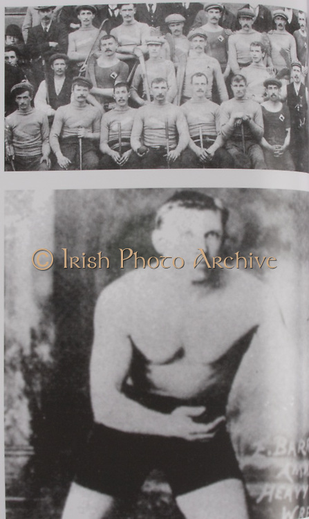 "Top: Tipperary (Two Mile Boris)- All-Ireland Hurling Champions 1900. Back Row: James Brown, John Walsh, Mick Purcell, Billy Maher, Mike Wall, ""Little Bill"" Gleeson, Tommy Ryan, James O'Keeffe. Middle Row: J Stapleton, ""Big Bill"" Gleeson, Paddy Hayes, Tom Semple, Jack Maher (the field), Tom Cantwell. Front Row: T Nally, M Ryan, N Maher, ""Big"" Mikey Maher, P Maher ""Best"", Jack Gleeson, J McCarthy (Kilkenny, the referee with whistle on jacket), Denis O'Keeffe. .Bottom: Ed Barrett has the unique distinction of being the only All-Ireland medal holder to have an Olympic medal. Big Ned was on the London team that sensationally beat Cork in 1901. In the 1908 Olympics in London he won a gold medal with the London Police tug-of-war team. He also won a silver Olympic Medal in wrestling. His brother James was also a great athlete and won the Irish and British AAA shotpug titles in 1911 and 1923."