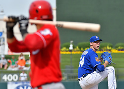 March 20, 2017 - Surprise, AZ, USA - Kansas City Royals relief pitcher Matt Strahm in the eighth inning against the Cincinnati Reds on Monday, March 20, 2017 during a spring training baseball game in Surprise, Ariz. (Credit Image: © John Sleezer/TNS via ZUMA Wire)