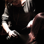 02/12/12 West Chester PA: Hairstylist Odessa Connolly from Classic Hair Designs in  Trumbauersville, PA working on an unknown model hair during Open Chair 11 Sunday, Feb. 12, 2012 at The Note in West Chester Pennsylvania.<br /> <br /> Special to Monsterphoto/SAQUAN STIMPSON