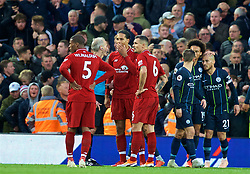 LIVERPOOL, ENGLAND - Sunday, October 7, 2018: Liverpool's Virgil van Dijk appeal to referee Martin Atkinson after a penalty is awarded during the FA Premier League match between Liverpool FC and Manchester City FC at Anfield. (Pic by David Rawcliffe/Propaganda)