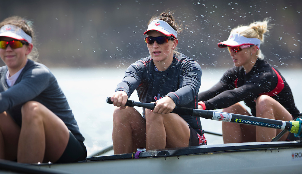 Natalie Mastracci member of the 2016 Canadian Olympic Rowing Team in the women's eight trains at Lake Fanshawe in London, Ontario Canada on April 25th, 2016.