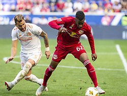 September 30, 2018 - Harrison, New Jersey, United States - Michael Murillo (62) of Red Bulls control ball during regular MLS game against Atlanta United FC at Red Bull Arena Red Bulls won 2 - 0 (Credit Image: © Lev Radin/Pacific Press via ZUMA Wire)