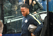 Raheem Sterling (7) of Manchester City arriving at the City of Cardiff Stadium in the rain during the Premier League match between Cardiff City and Manchester City at the Cardiff City Stadium, Cardiff, Wales on 22 September 2018.
