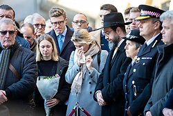 © Licensed to London News Pictures. 02/12/2019. London, UK. Metropolitan Police Commissioner Cressida Dick (3-R), faith leaders and members of the public attend a vigil at Guildhall Yard following a terrorist attack on London Bridge in which two people were killed. The attacker was shot by police firearms officers and pronounced dead at the scene. Photo credit: Rob Pinney/LNP