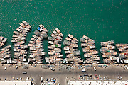 Aerial photo of dhow boats in Abu Dhabi