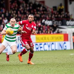 Aberdeen v Celtic, SPrem, 25th February 2018<br /> <br /> Aberdeen v Celtic, SPrem, 25th February 2018 &copy; Scott Cameron Baxter | SportPix.org.uk<br /> <br /> Scott Brown challenges Aberdeens Nwakali