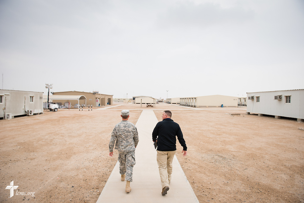 Army Capt. Chad Czischke, chaplain (left), walks with the Rev. Craig G. Muehler, director of the LCMS Ministry to the Armed Forces, during a visit Sunday, March 22, 2015, at Camp Buehring in Kuwait. LCMS Communications/Erik M. Lunsford
