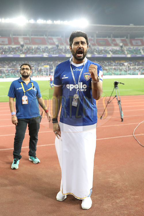 Abhishek Bachchan owner of Chennaiyin FC   during match 46 of the Hero Indian Super League between Chennaiyin FC and FC Pune City held at the Jawaharlal Nehru Stadium, Chennai India on the 13th January 2018<br /> <br /> Photo by: Arjun Singh  / ISL / SPORTZPICS