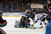 KELOWNA, CANADA - NOVEMBER 23: Nolan Foote #29 of the Kelowna Rockets gets tangled up in front of the bench during first period against the Victoria Royals on November 23, 2018 at Prospera Place in Kelowna, British Columbia, Canada.  (Photo by Marissa Baecker/Shoot the Breeze)