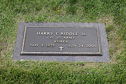 31 August 2017:   Veterans graves in Park Hill Cemetery in eastern McLean County.<br /> <br /> Harry E Riddle Jr  Corporal US Army Korea  Nov 2 1929  June 24 2009