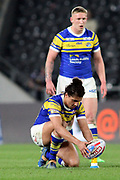 Leeds Rhinos full back Ashton Golding (1) about to kick at goal during the Betfred Super League match between Hull FC and Leeds Rhinos at Kingston Communications Stadium, Hull, United Kingdom on 19 April 2018. Picture by Mick Atkins.