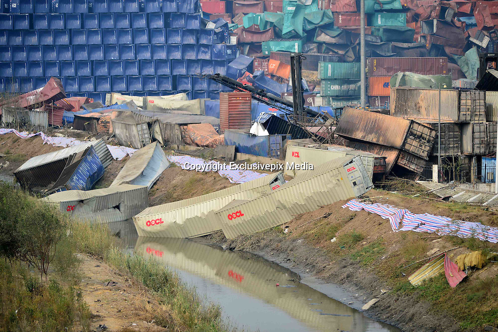 TIANJIN, CHINA - AUGUST 17: (CHINA OUT) <br /> <br /> Image shows the blast site after the warehouse explosion on August 17, 2015 in Tianjin, China. The death toll rose to 114 on Monday after the last Wednesday night\'s explosion of a warehouse in Binhai New Area of Tianjin. <br /> ©Exclusivepix Media
