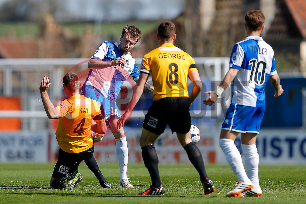 Chris Lines of Bristol Rovers is challenged by Scott Kay of Southport - Photo mandatory by-line: Rogan Thomson/JMP - 07966 386802 - 11/04/2015 - SPORT - FOOTBALL - Bristol, England - Memorial Stadium - Bristol Rovers v Southport - Vanarama Conference Premier.