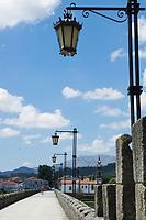 Caminho Portugues (The Portugese Way) Crossing Ponte de Lima's Medieval Bridge, Portugal