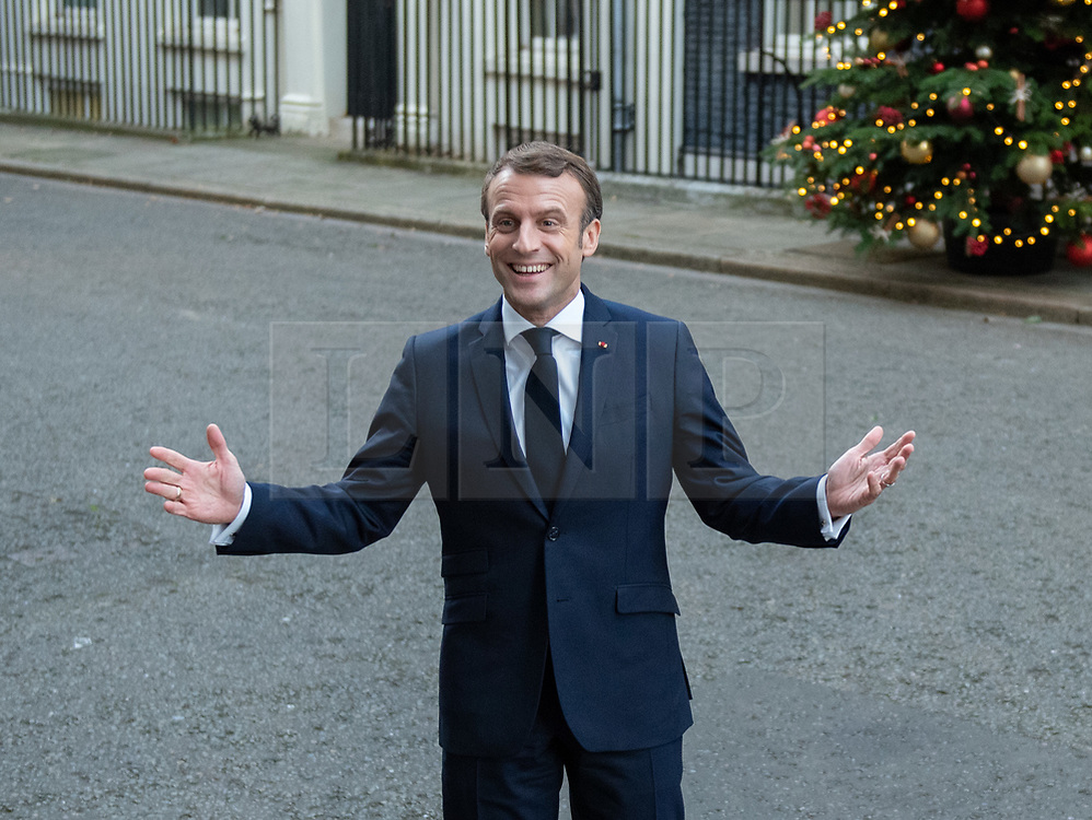 © Licensed to London News Pictures. 03/12/2019. London, UK. Emmanuel Macron pictured as NATO Leaders' arrive at Downing Street. Photo credit: Peter Manning/LNP
