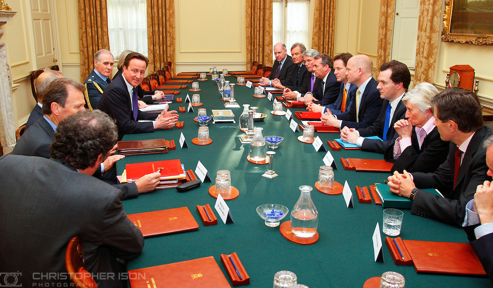 Prime Minister David Cameron chairs the first meeting of the National Security Council in the Cabinet Room in 10 Downing Street. Others in attendance included Deputy Prime Minister Nick Clegg, Foreign Secretary William Hague, Defence Secretary Dr Liam Fox, Home Secretary Teresa May and Chief of the Defence Staff Sir Jock Stirrup.