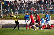 Dundee&rsquo;s Sofien Moussa completes his hat-trick with a looping heder over Cowdenbeath's former United keeper Joe McGovern - Cowdenbeath v Dundee in the Betfred Cup at Central Park, Cowdenbeath - Picture by David Young<br /> <br />  - &copy; David Young - www.davidyoungphoto.co.uk - email: davidyoungphoto@gmail.com