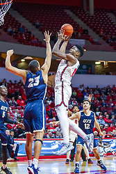 NORMAL, IL - November 29: Rey Idowu shoots over defender Collin Stallworth during a college basketball game between the ISU Redbirds and the Prairie Stars of University of Illinois Springfield (UIS) on November 29 2019 at Redbird Arena in Normal, IL. (Photo by Alan Look)