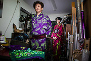 JAPAN, TOKYO - Portrait of the Kimono designer Ishikawa Narutoshi. Kimonos are colorful with jellyfish, mushroom, butterfly, goldfish. 06-2014
