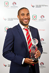 CARDIFF, WALES - Monday, October 6, 2014: Wales' Club Player of the Year Ashley Williams with his trophy at the FAW Footballer of the Year Awards 2014 held at the St. David's Hotel. (Pic by David Rawcliffe/Propaganda)