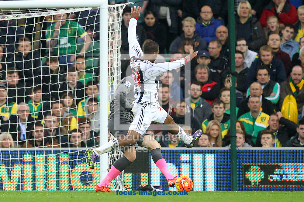 John Ruddy of Norwich clears the ball ahead of Jose Salomon Rondon of West Bromwich Albion during the Barclays Premier League match at Carrow Road, Norwich<br /> Picture by Paul Chesterton/Focus Images Ltd +44 7904 640267<br /> 24/10/2015
